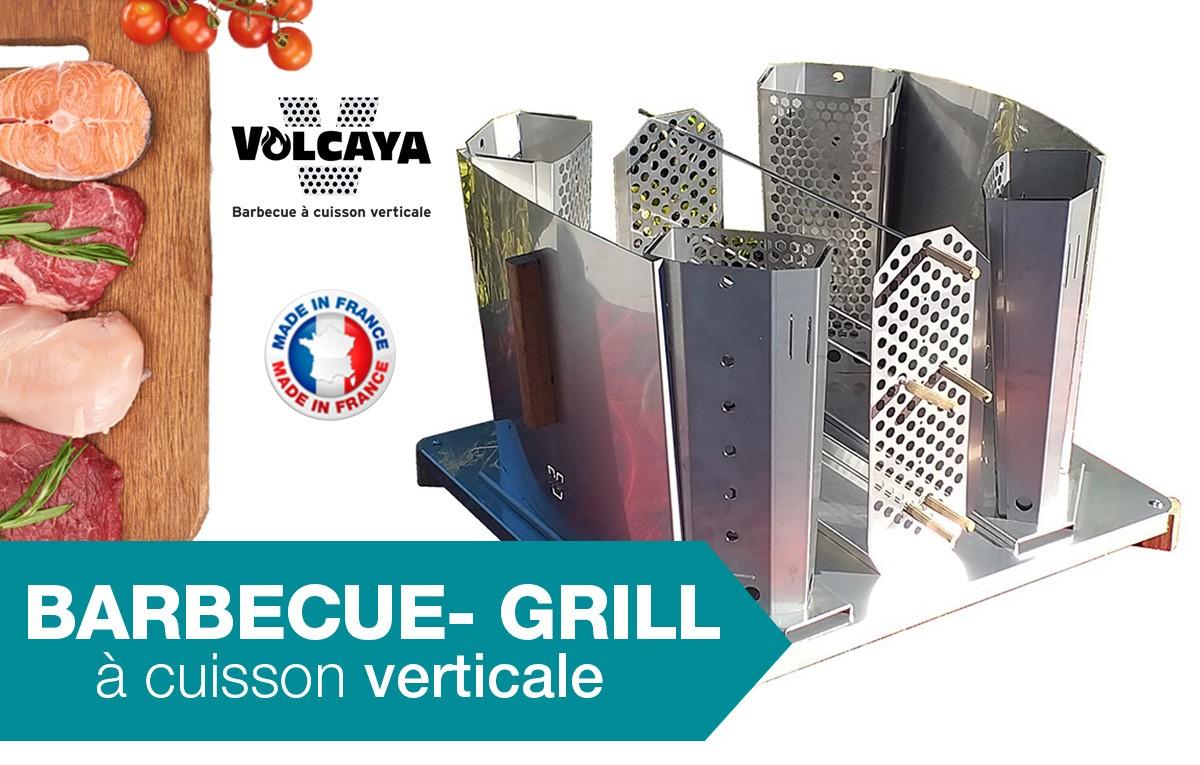 Le concept de cuisson verticale Volcaya est unique vous permettra de retrouver le goût des aliments et le plaisir de cuisiner en extérieur, tout en respectant la santé de vos convives.